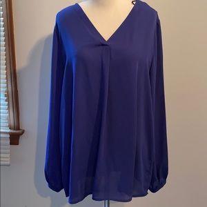 Long sleeve, blue blouse, keyhole back. Never worn